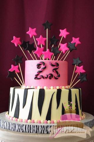 (151) Zebra Print 23rd Birthday Cake