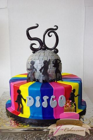 (139) Disco Theme 50th Birthday Cake