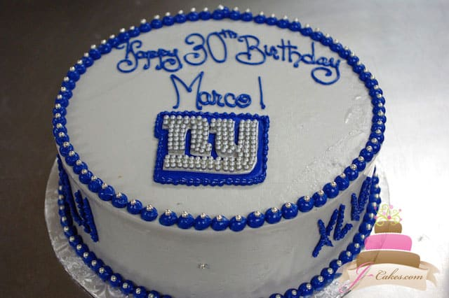 (140) NY Giants Theme Birthday Cake