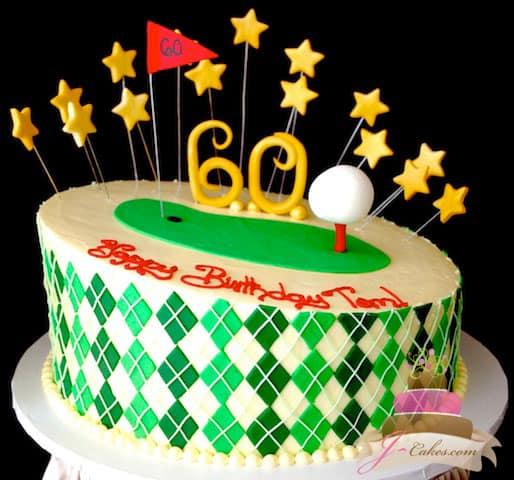 (141) Golf Theme 60th Birthday Cake