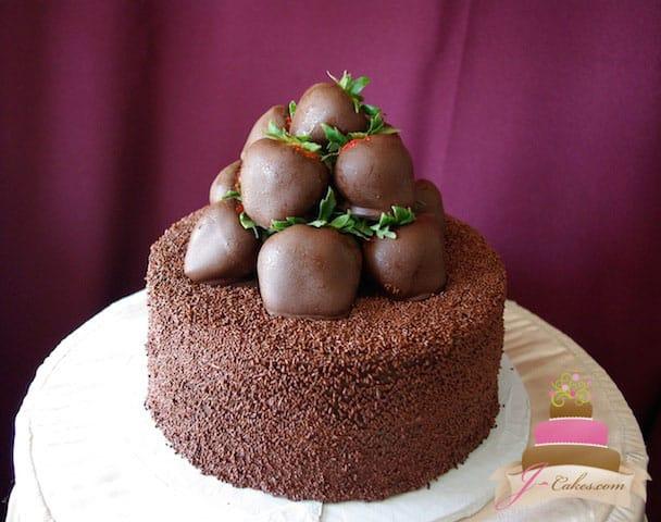 (142) Chocolate-Covered Strawberry Birthday Cake