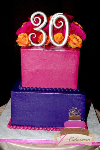 (149) Tiered Square 30th Birthday Cake