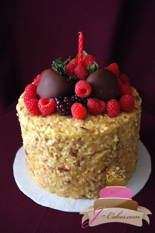 (157) Coconut and Fresh Berry Birthday Cake