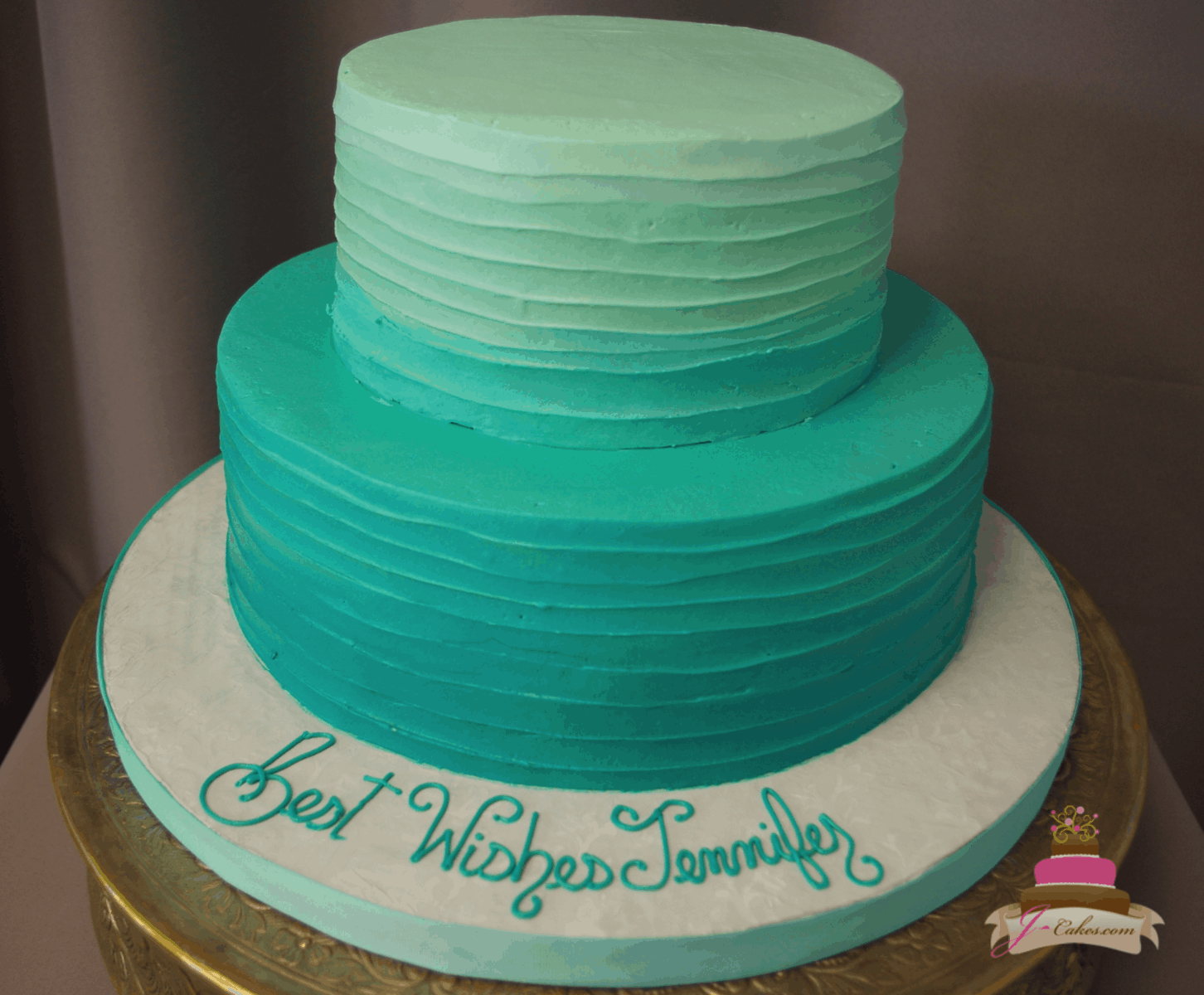 (324) Turquoise Ombre Cake