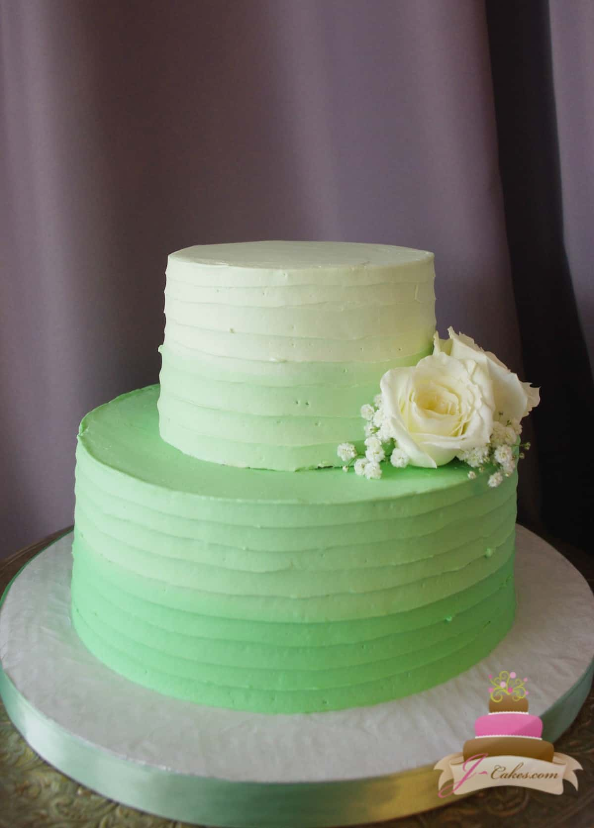 (319) Green Ombre Textured Bridal Shower Cake