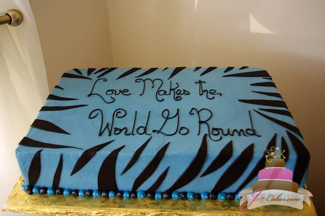 (308) Blue Zebra Stripe Bridal Shower Cake