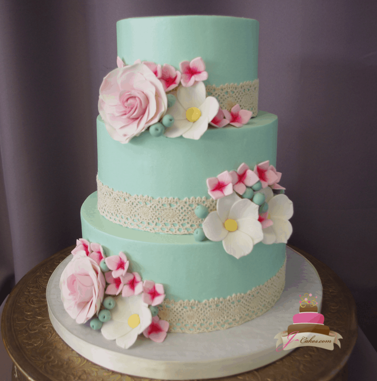 (325) Lace Bridal Shower Cake