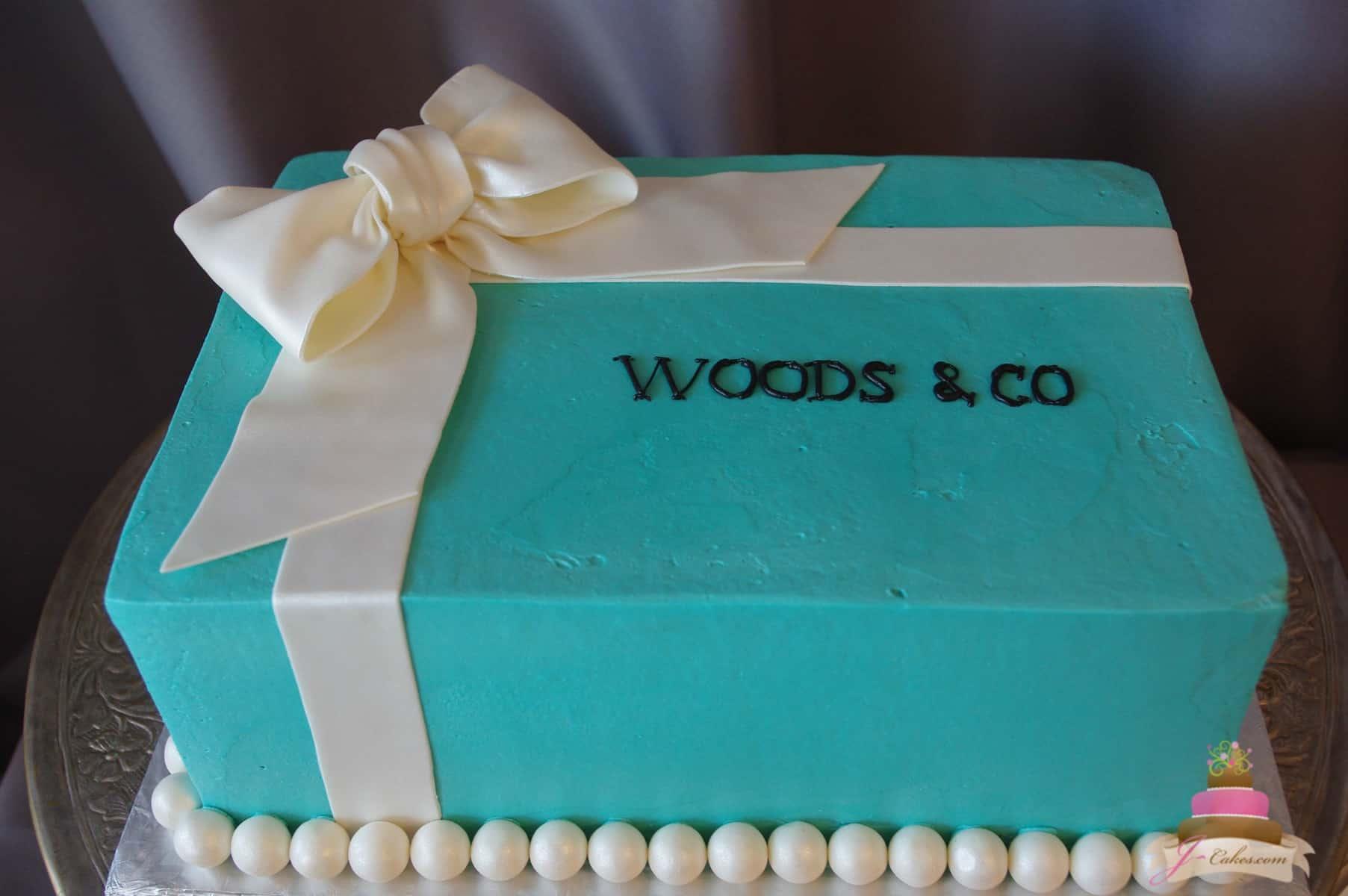 (315) Custom Tiffany Box Bridal Shower Cake