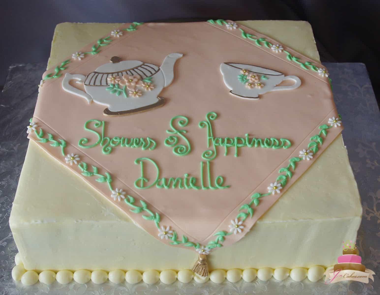 (317) Tea Party Bridal Shower Cake
