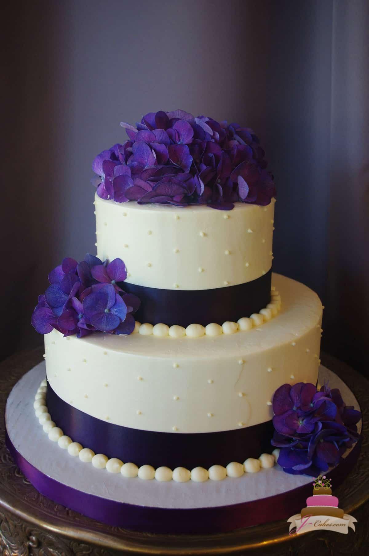 (318) Purple Hydrangea Bridal Shower Cake
