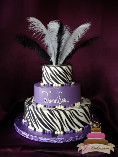 (304) Purple Zebra Stripe Bridal Shower Cake