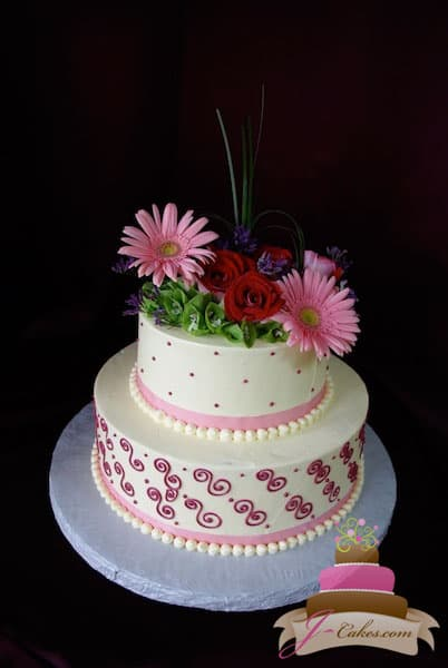 (306) Pink Scroll Bridal Shower Cake