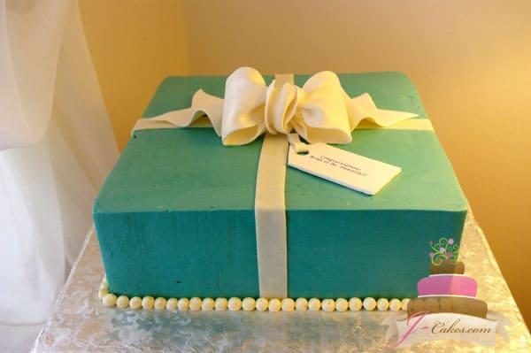 (307) Tiffany Gift Box Bridal Shower Cake