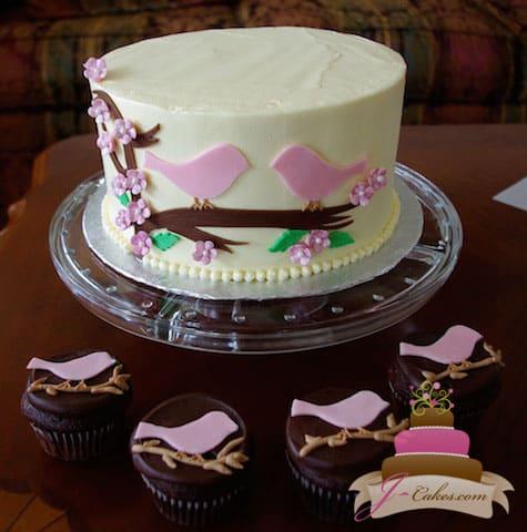 309 love birds bridal shower cake cupcakes