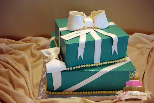 (310) Tiered Tiffany Gift Box Bridal Shower Cake