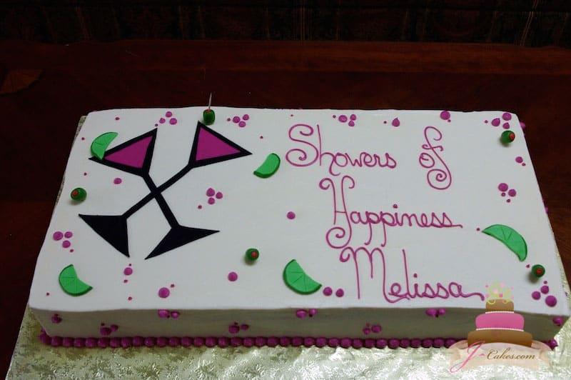 (311) Martini Glass Bridal Shower Cake