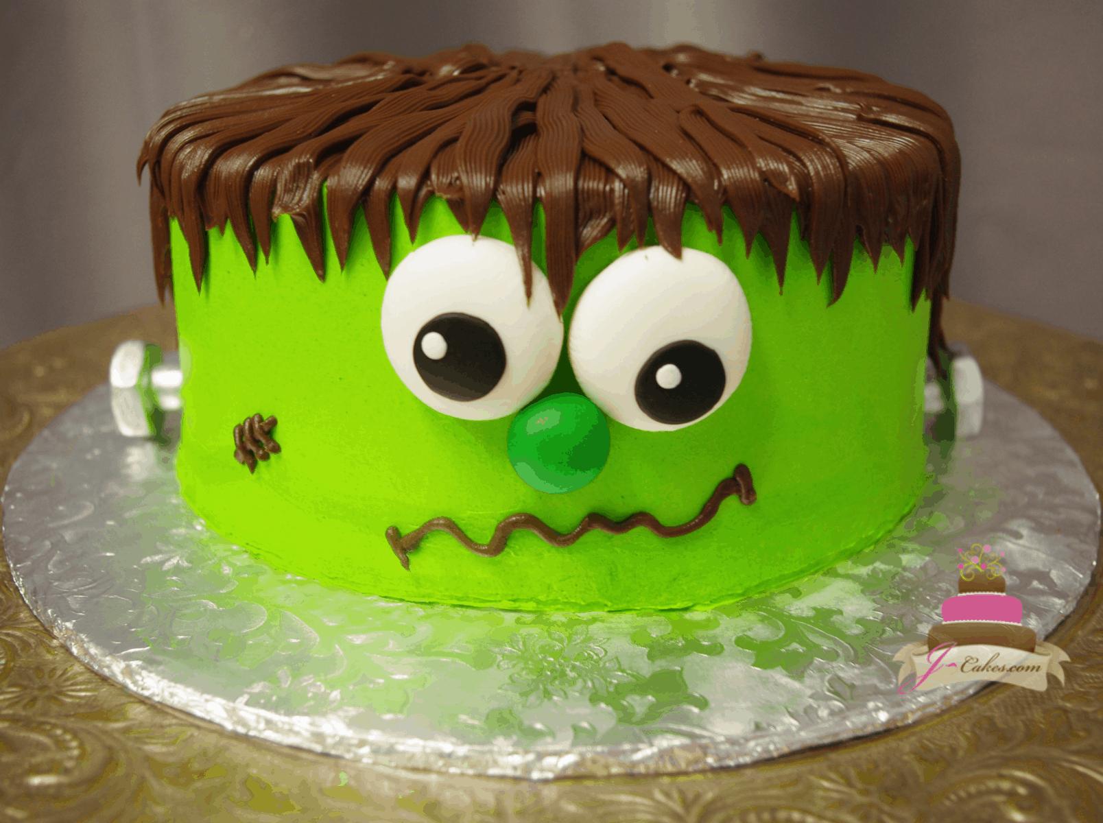 (538) Frankenstein Halloween Cake
