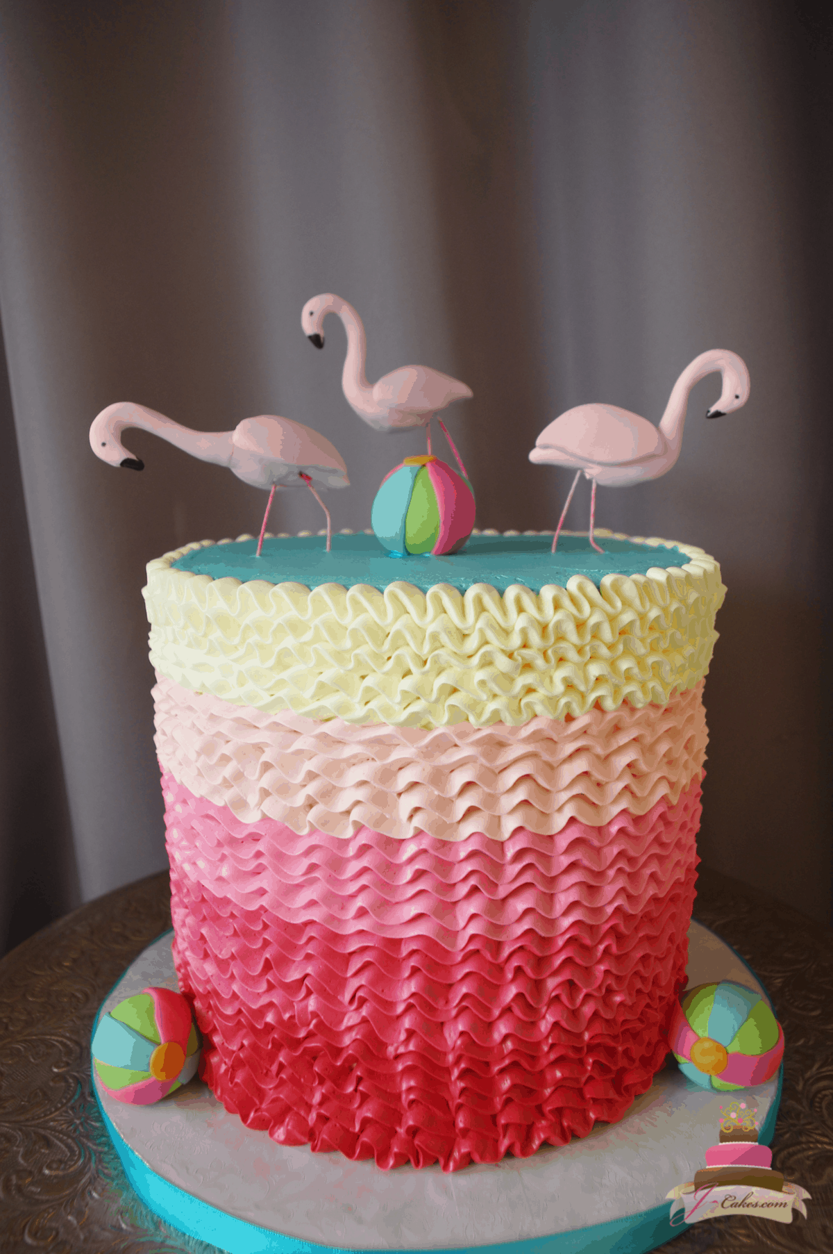 (558) Flamingo Ruffle Cake