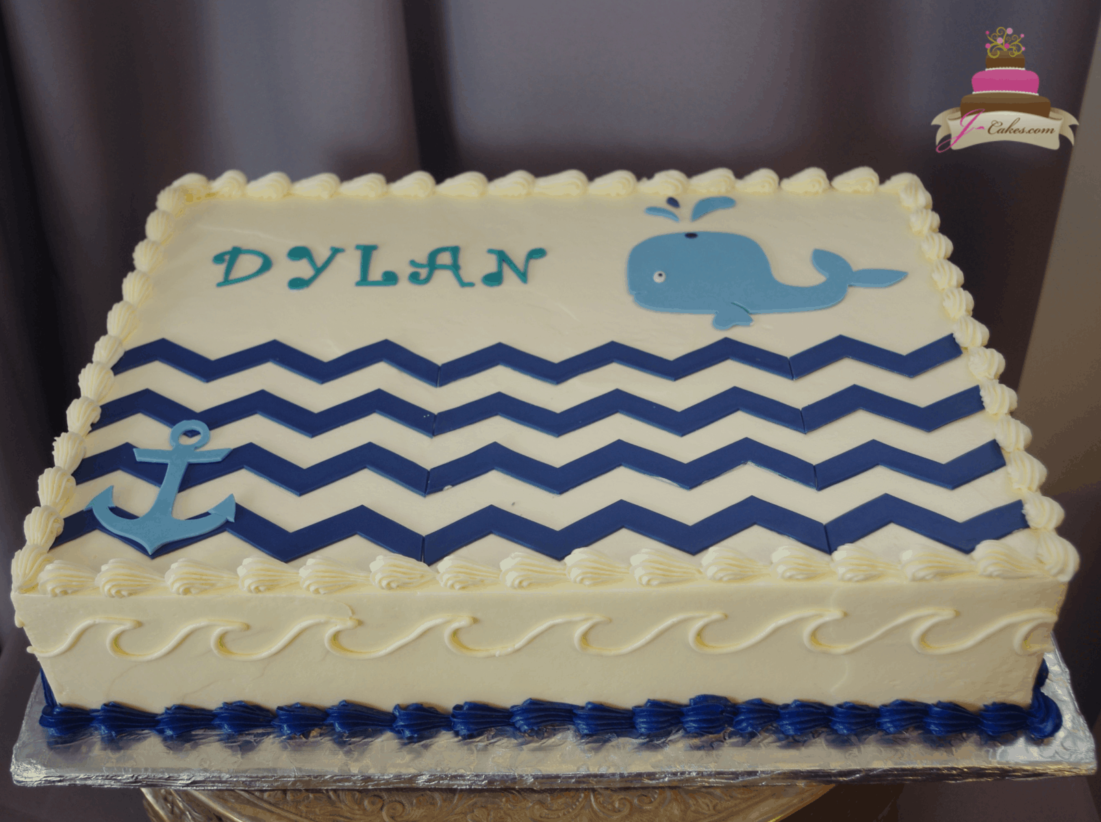 (559) Nautical Whale Sheet Cake