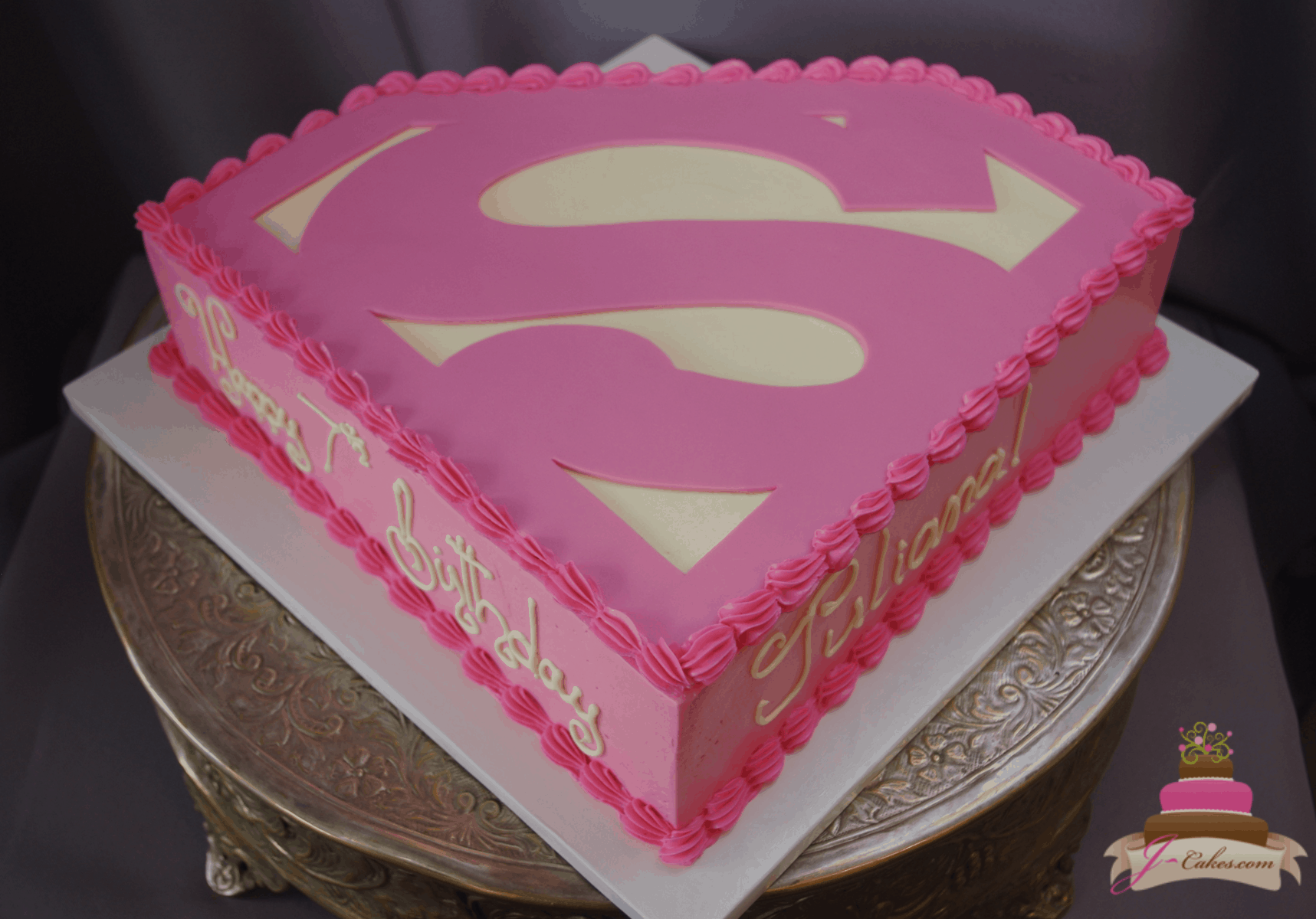 (562) Supergirl Logo Shaped Cake