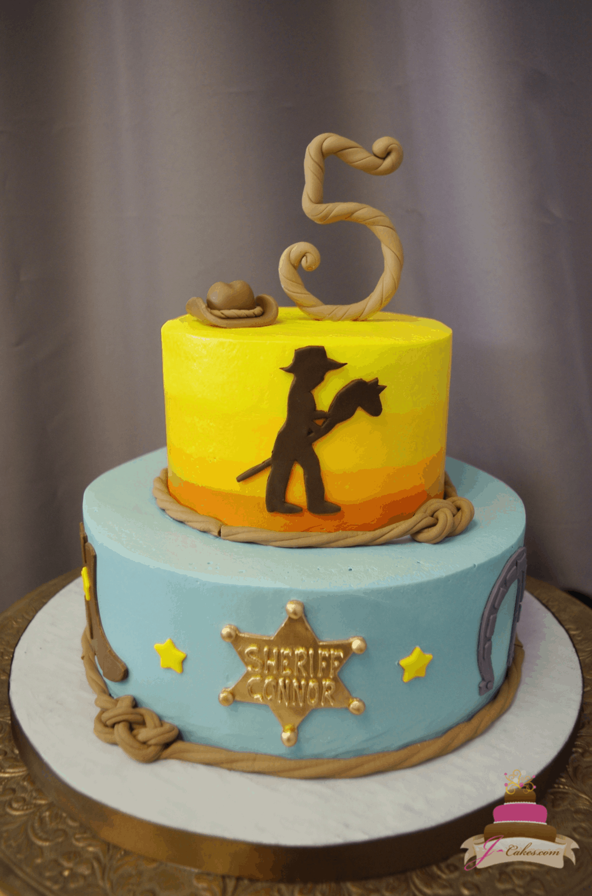 (563) Cowboy Theme Tiered Cake