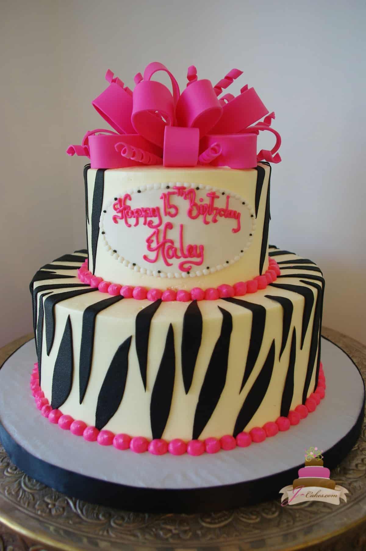 (482) Zebra Print Birthday Cake