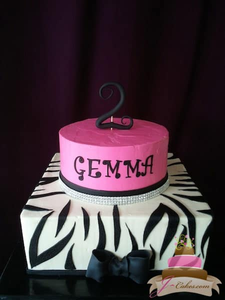 (405) Zebra Print 2nd Birthday Cake