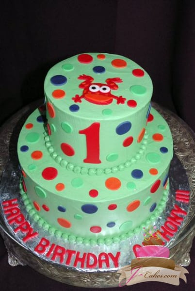 (407) Polka Dot Frog 1st Birthday Cake