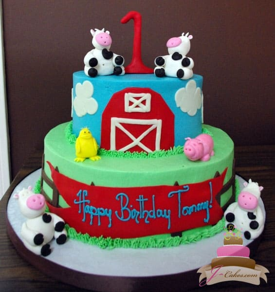 (409) Farm Theme Birthday Cake