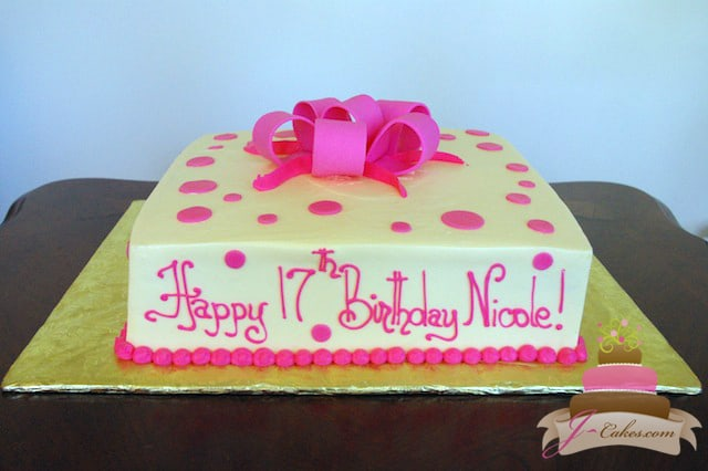 (415) Pink Polka Dot Birthday Cake