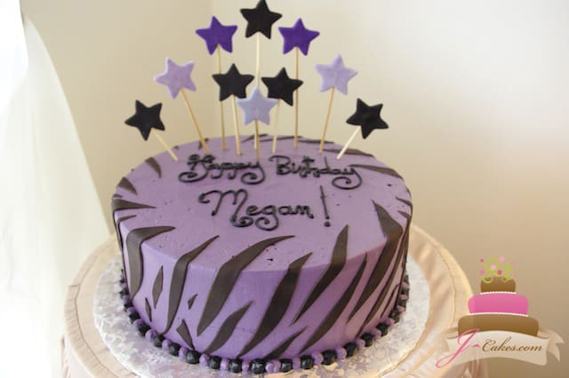 (418) Purple Zebra Print Birthday Cake