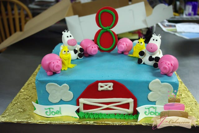 (425) Farm theme Sheet Cake