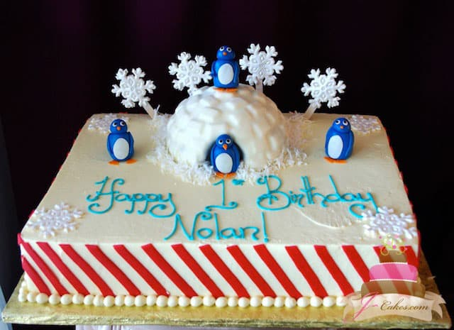 (446) Penguin Birthday Cake