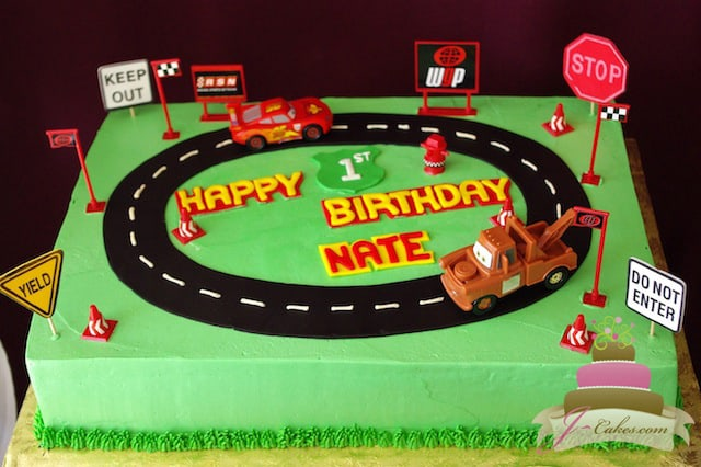 (455) Cars Racetrack Birthday Cake