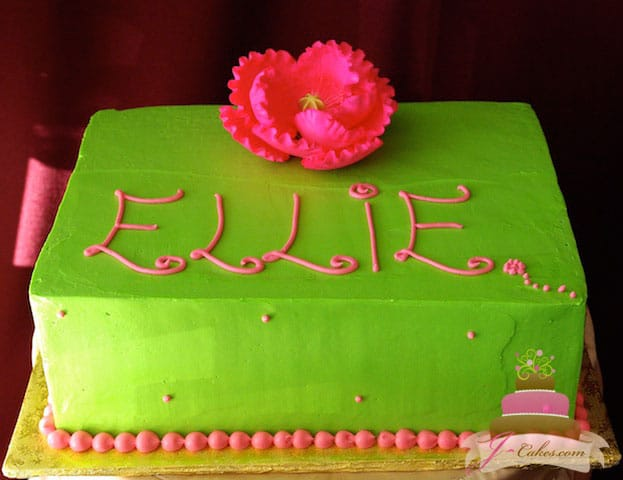 (456) Pink and Green Flower Birthday Cake
