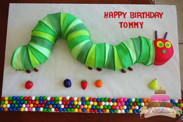 (459) Very Hungry Caterpillar Shaped Birthday Cake