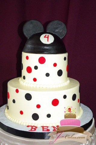 (461) Mickey Mouse Polka Dot Birthday Cake