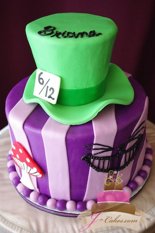 (464) Alice in Wonderland Theme Birthday Cake
