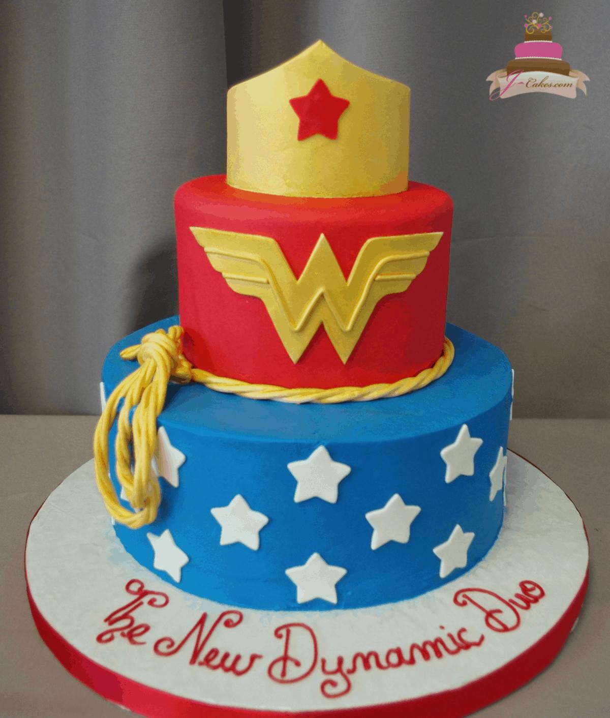(528) Wonder Woman Tiered Cake