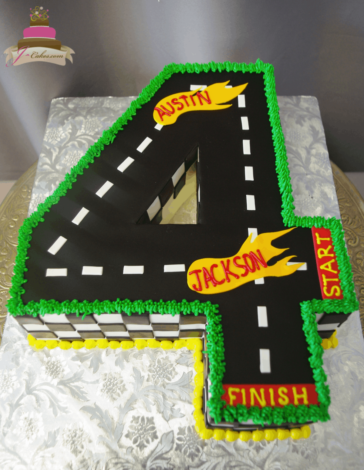 (536) Number Shaped Racetrack Cake