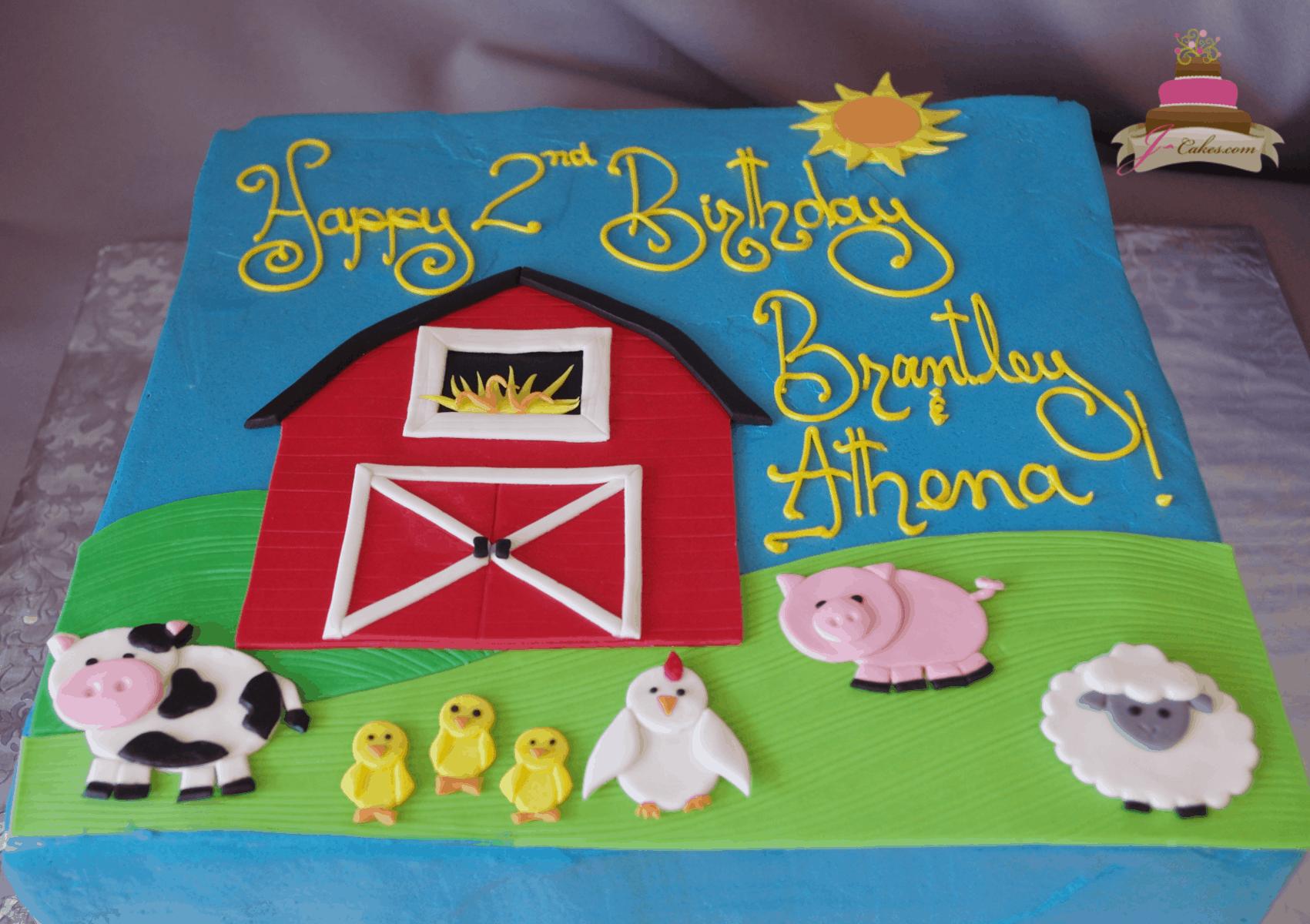 (555) Flat Farm Animal Sheet Cake