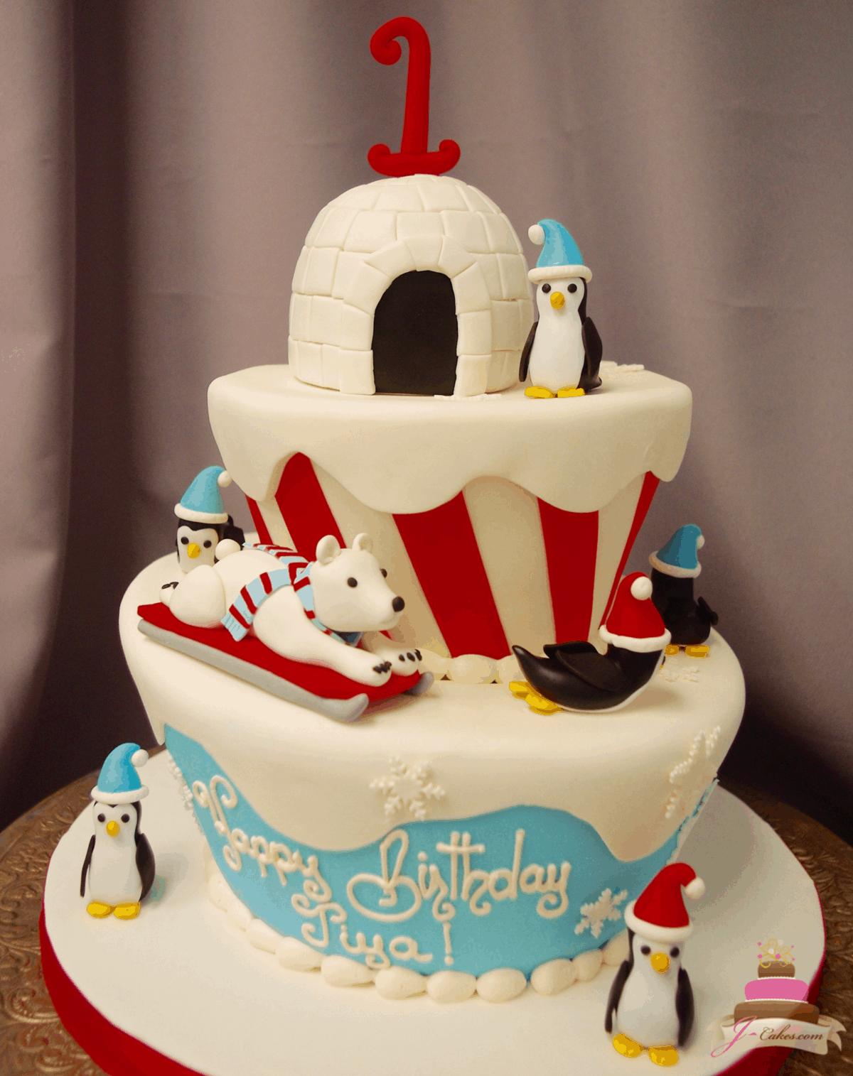 (564) Winter Theme Topsy Turvy Cake