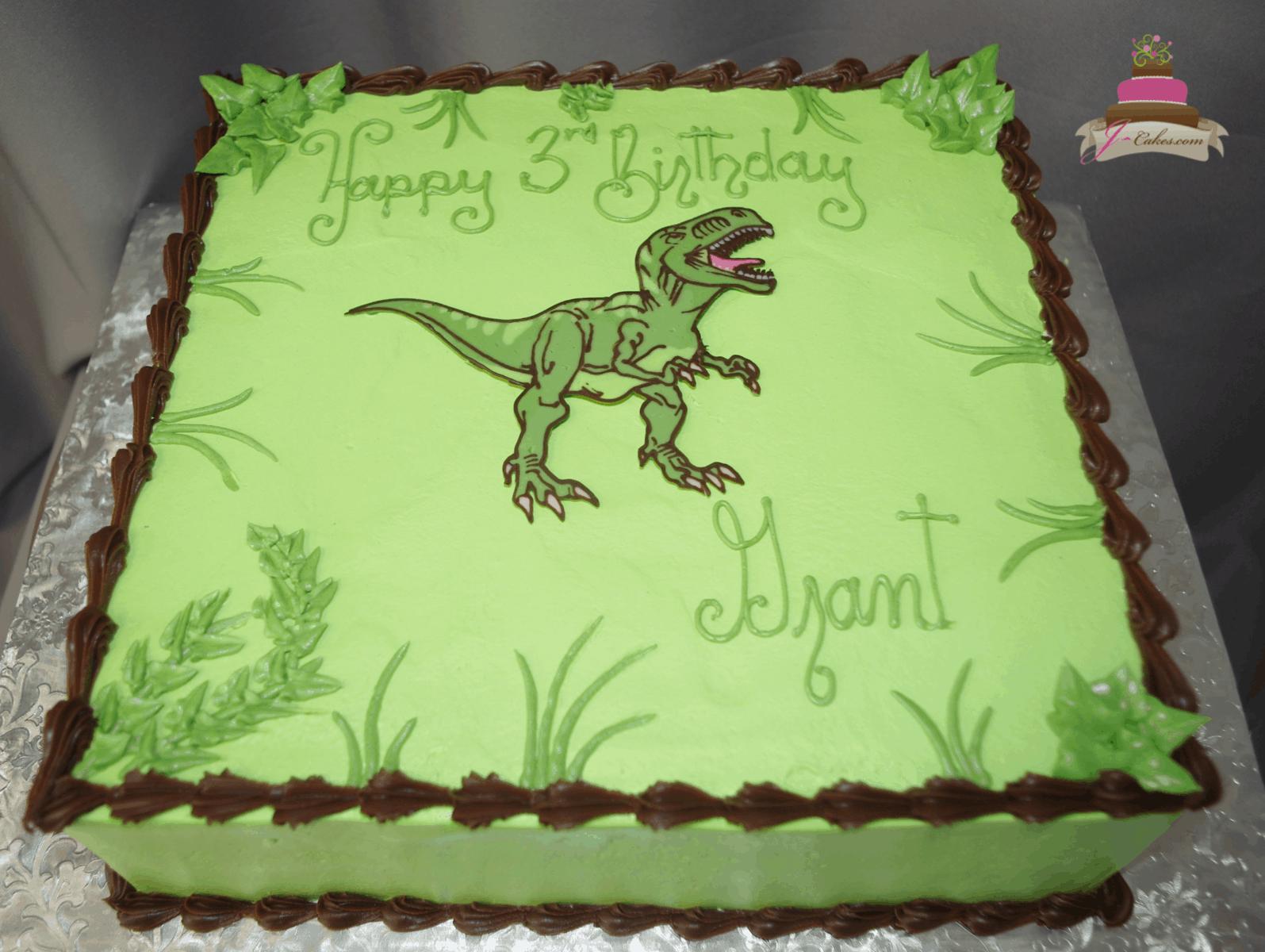 (576) Flat Dinosaur Sheet Cake