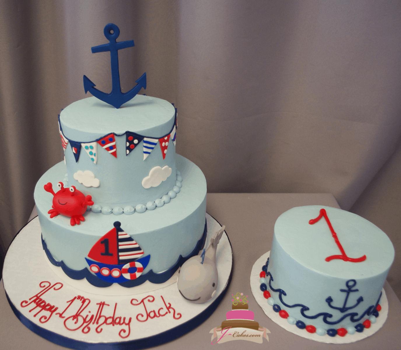 (585) Nautical First Birthday and Smash Cake