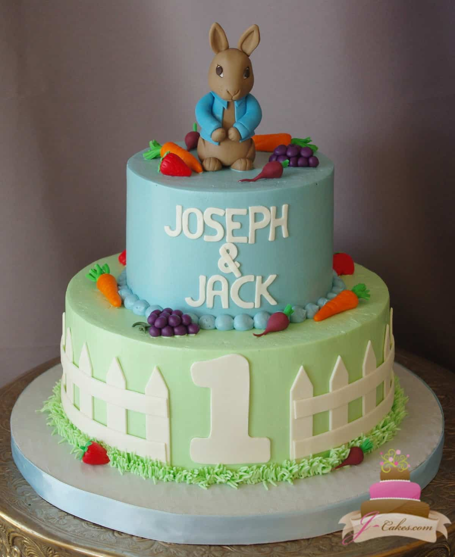(490) Peter Rabbit Theme Cake