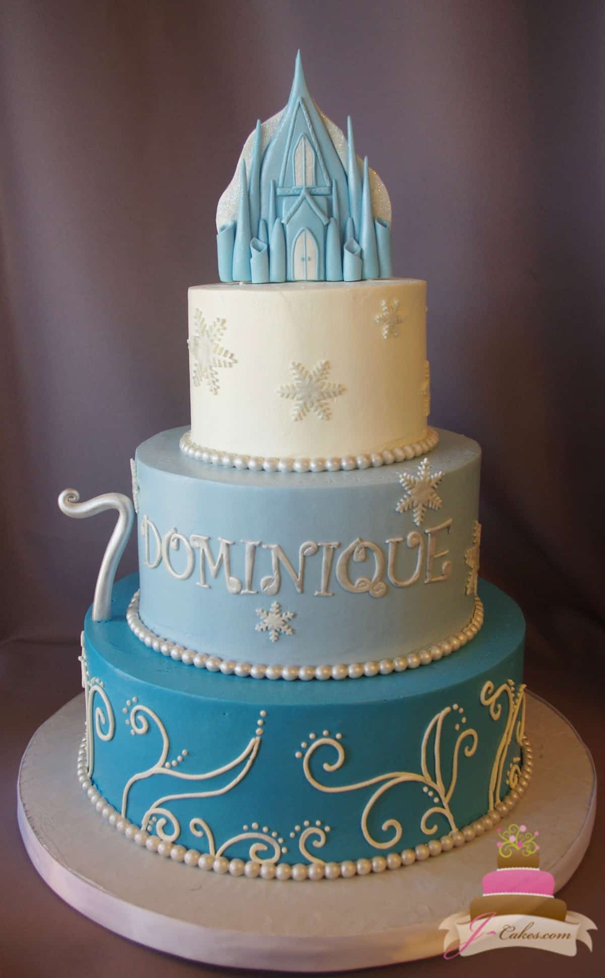 (499) Frozen Theme Tiered Cake with Castle Topper