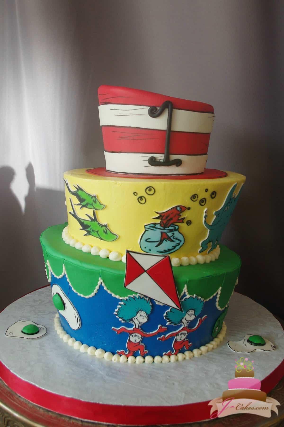 (501) Dr. Seuss Theme Tiered Cake