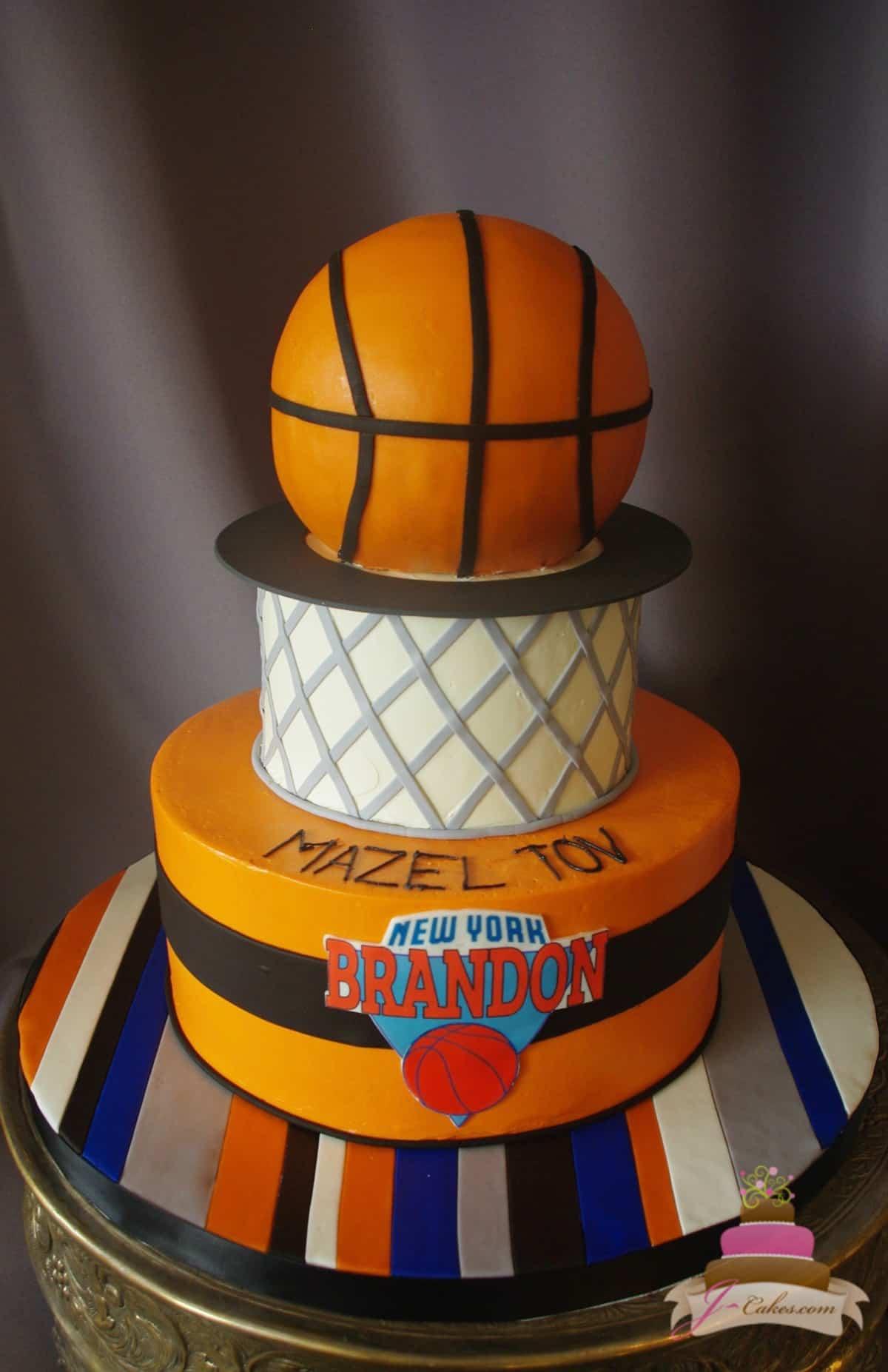 (503) Basketball Theme Tiered Cake