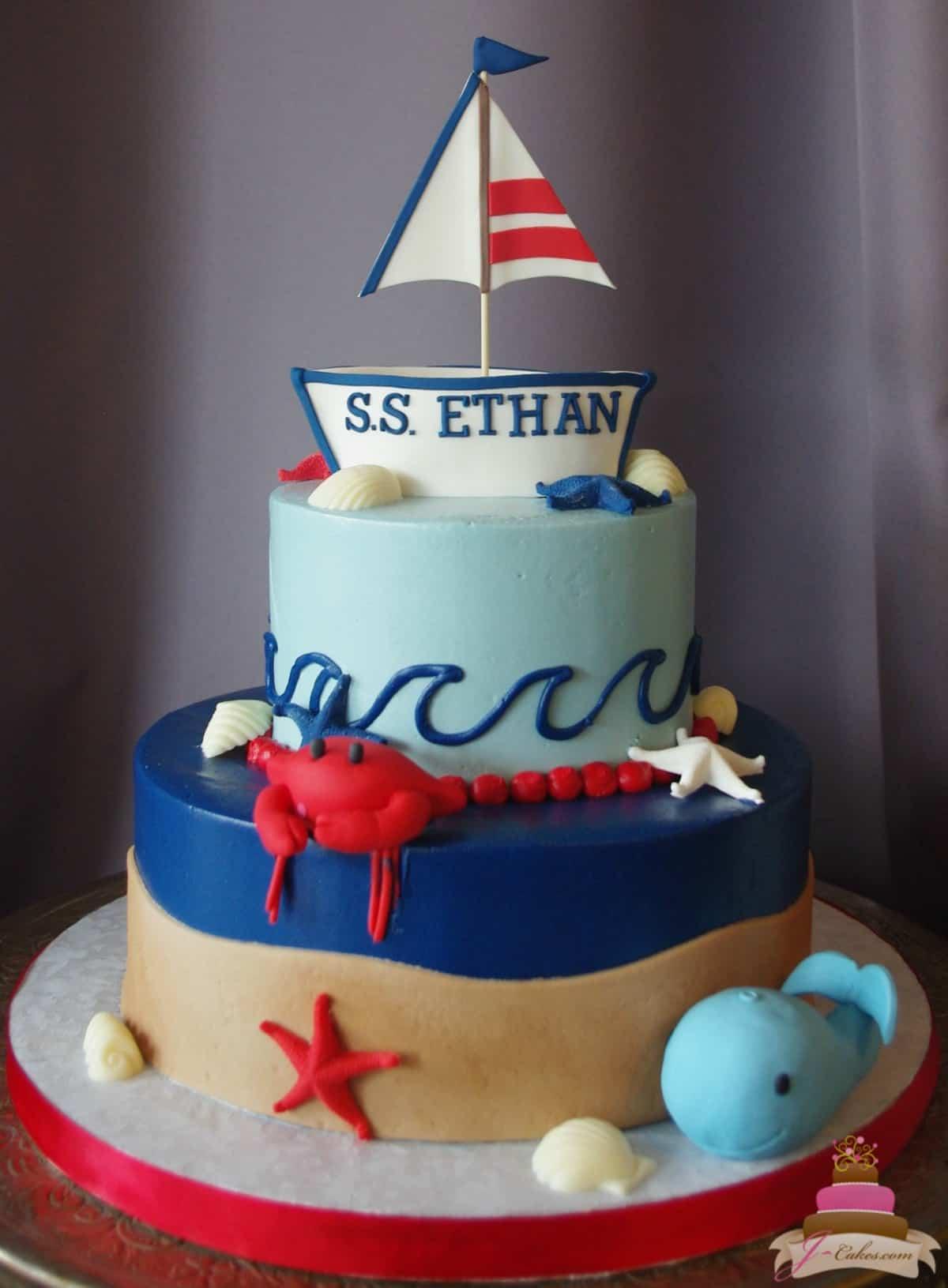 (507) Nautical Theme 1st Birthday Cake