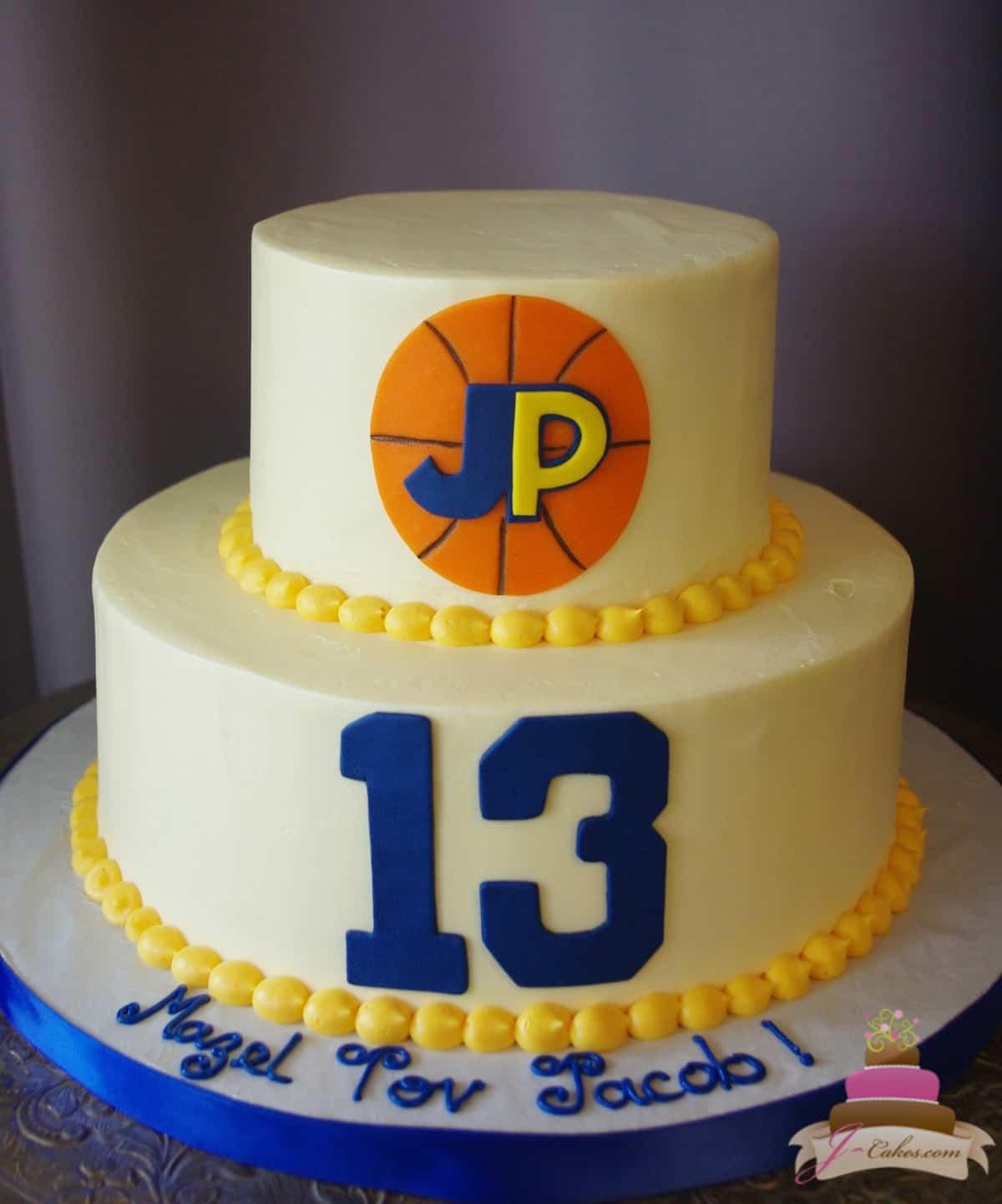 (510) Simple Basketball Theme Tiered Cake